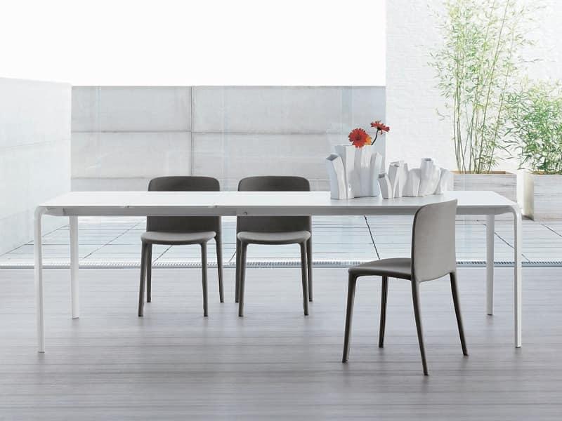 Tavolo minimale con piano allungabile per zona giorno for Tavoli contemporaneo design