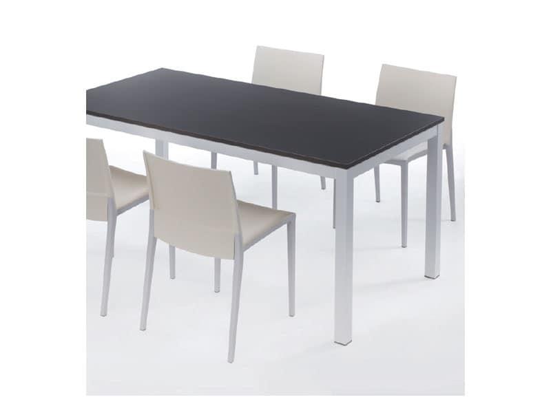 Tavolo allungabile, base verniciata, piano in laminato ...