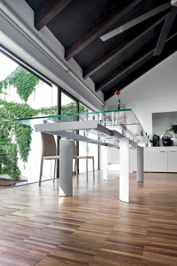 ARCOS, Tavolo allungabile, piano in vetro, gambe in alluminio