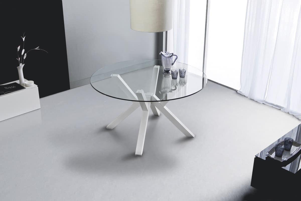 Art. 645 Teorema, Tavolo da pranzo tondo con piano in vetro