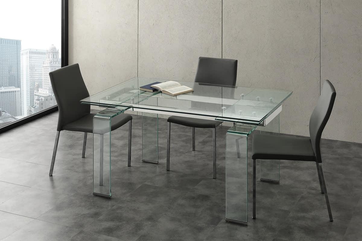 Tavolo allungabile per sale riunioni e soggiorno idfdesign for Glass tavoli cristallo