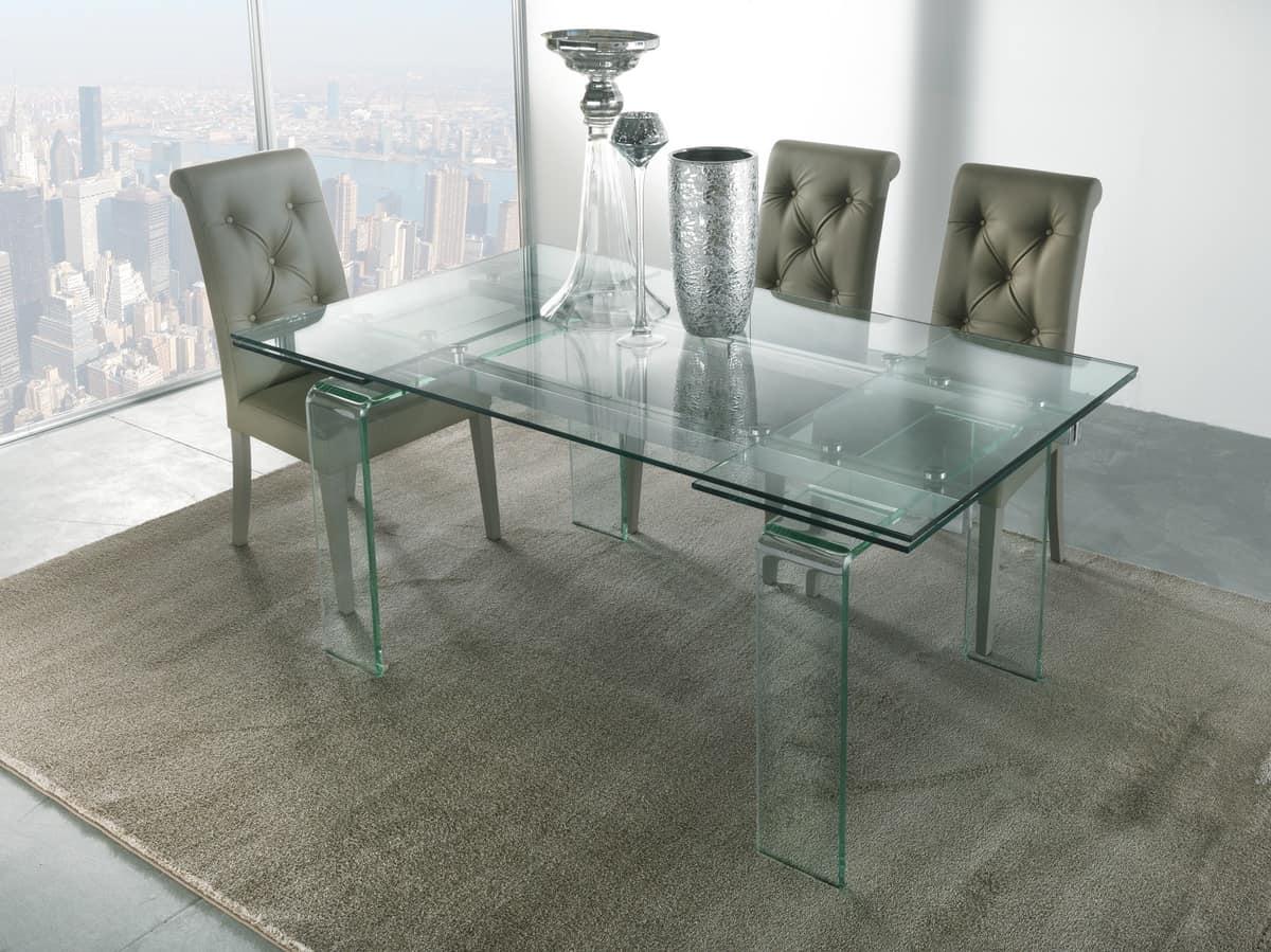 Tavolo con gambe e piano allungabile in vetro idfdesign for Tavoli in cristallo