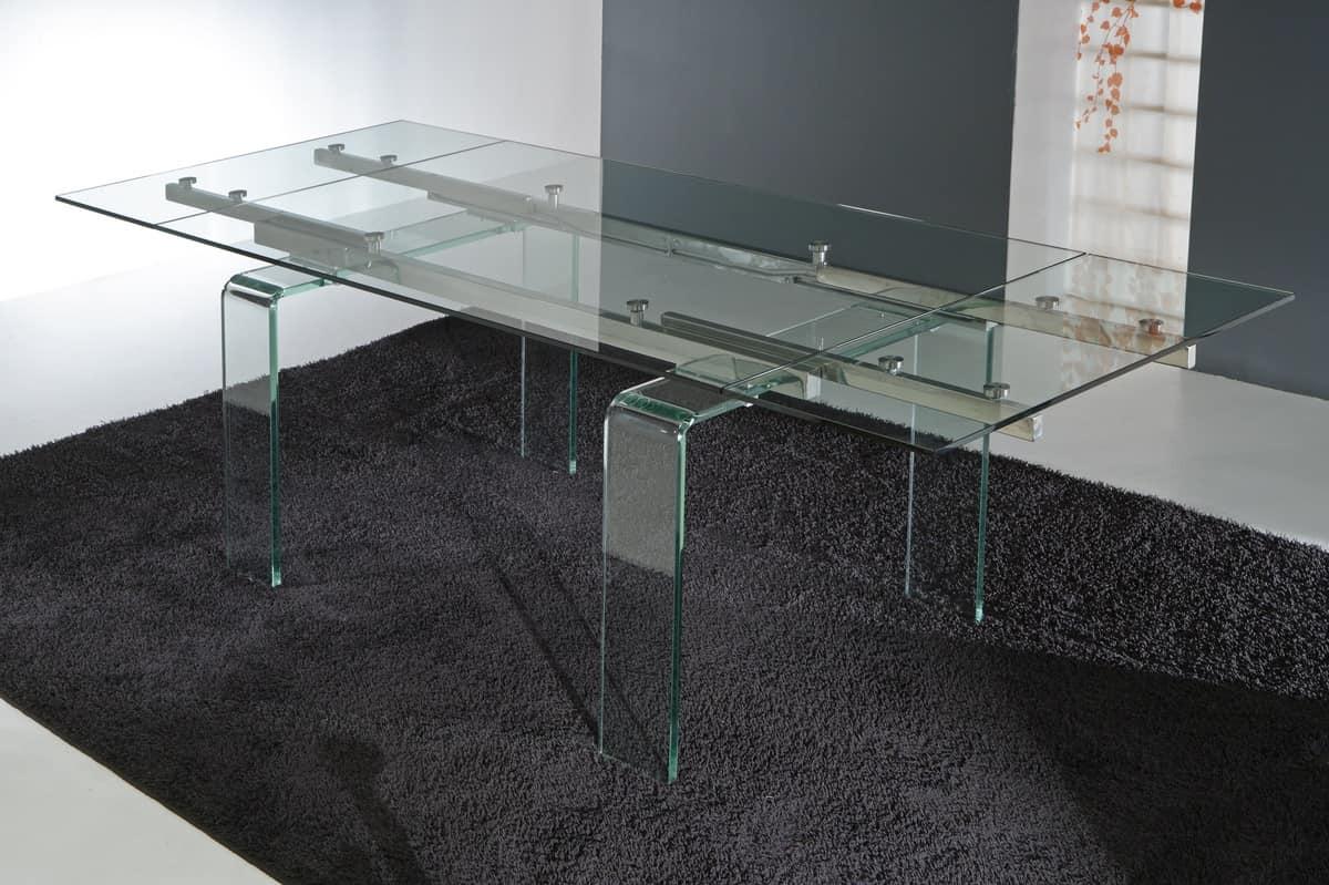 Tavolo con gambe e piano allungabile in vetro idfdesign for Tavolo vetro allungabile amazon
