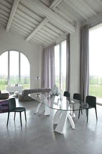 BIG ELISEO, Tavolo fisso con doppia base e top in vetro, legno o ceramica