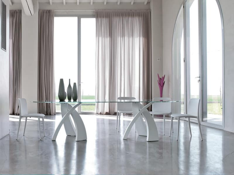Tavolo ovale design piano in vetro per sale da pranzo for Poltroncine tavolo da pranzo
