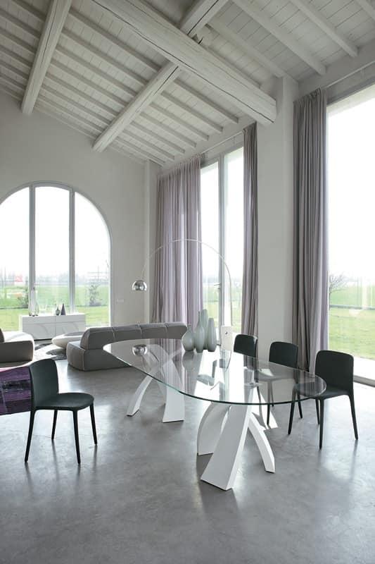 Tavolo ovale, design, piano in vetro, per sale da pranzo  IDFdesign