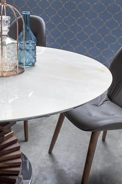 BIG FIRENZE, Tavolo fisso con doppia base e top in vetro o ceramica