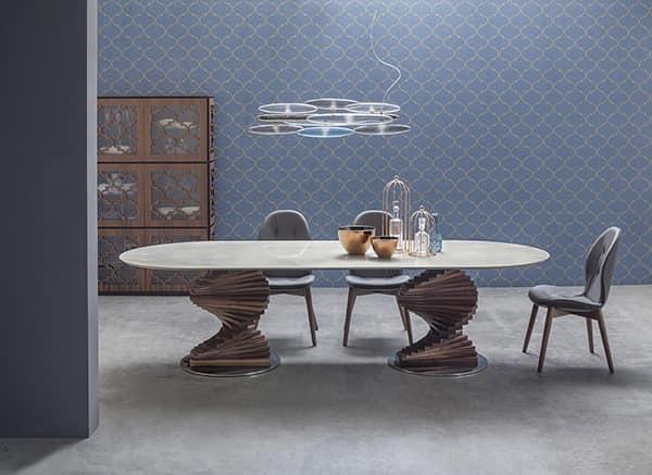 Tavolo con top in vetro, per soggiorni e cucine | IDFdesign