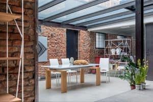 BROOKLYN, Tavolo estensibile in vetro e laminato, per uso residenziale