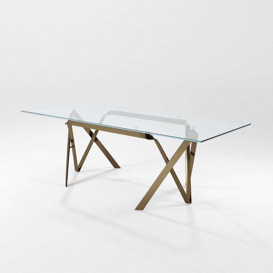 Tavolo Cristallo Base Ferro.Tavolo Con Piano In Cristallo E Struttura In Lama Di Ferro