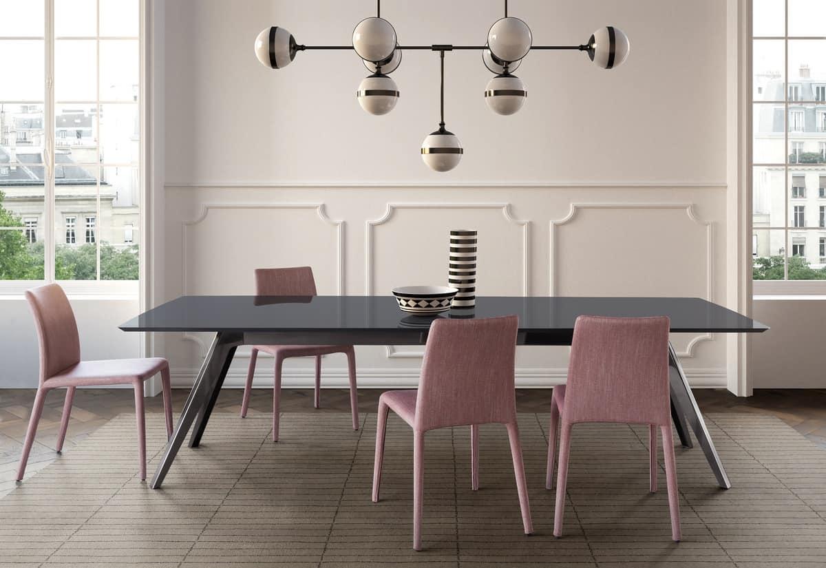 Tavolo da pranzo con piano in marmo legno o vetro idfdesign