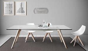 Delta, Tavolo da pranzo con piano in marmo,legno o vetro