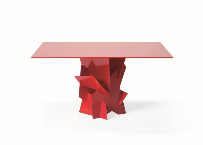 Tavolo con basi in alluminio assemblate ad incastro piano for Tavoli pranzo in vetro