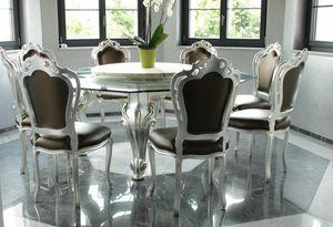 Dolce Vita, Tavolo da pranzo con piano ottagonale in vetro