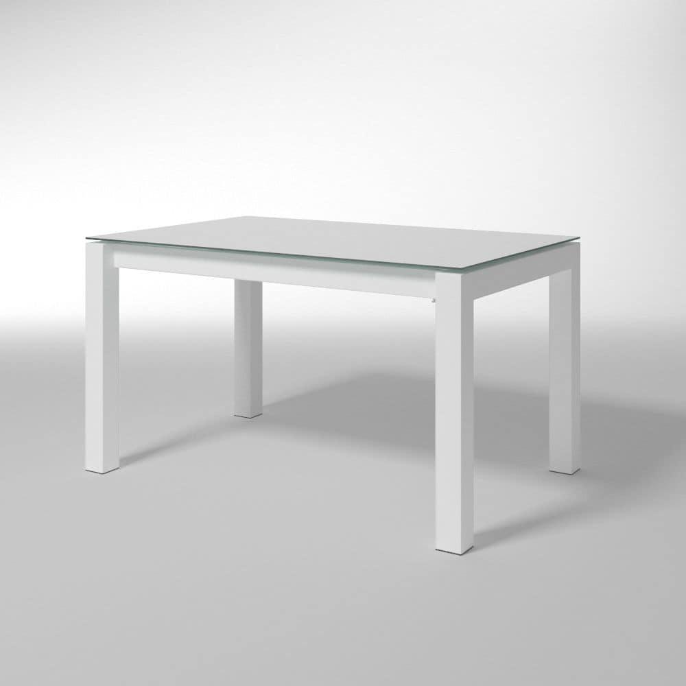 Tavolo rettangolare con piano in vetro per cucine moderne for Amazon tavoli da pranzo
