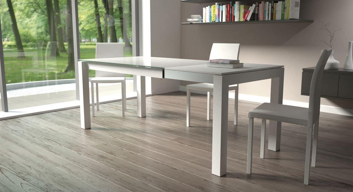 Tavolo rettangolare con piano in vetro per cucine moderne for Tavoli per cucine moderne