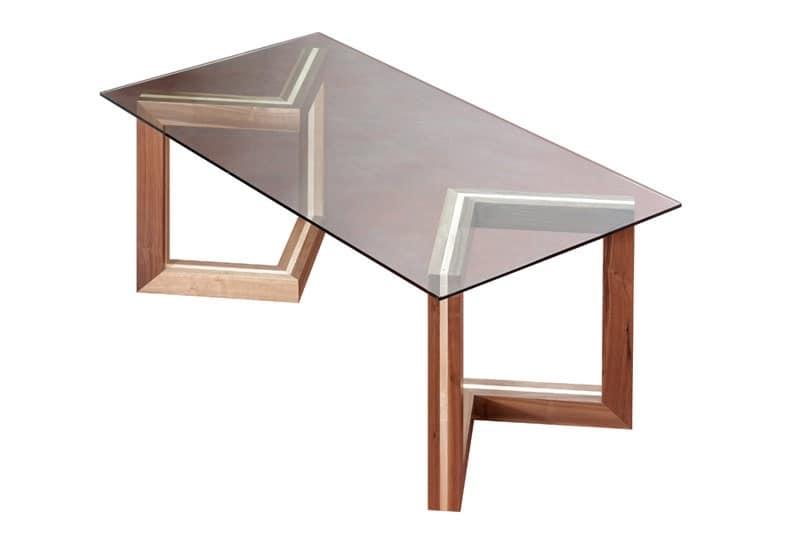 Tavolo in legno con piano in vetro, per Sale da pranzo  IDFdesign