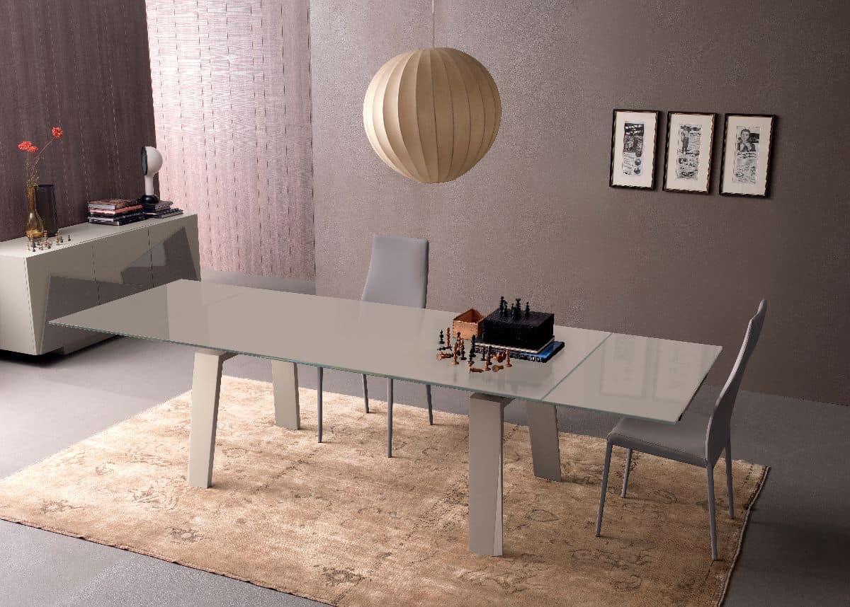 Tavolo allungabile in vetro e legno per cucina moderna for Tavoli da pranzo in legno