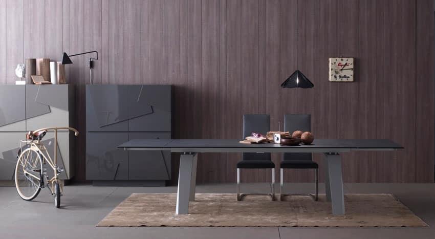 Tavolo allungabile in vetro e legno per cucina moderna - Tavoli pranzo allungabili design ...