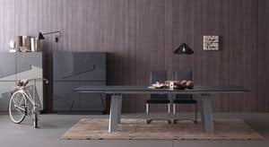 Frau, Tavolo allungabile in vetro e legno per cucina moderna