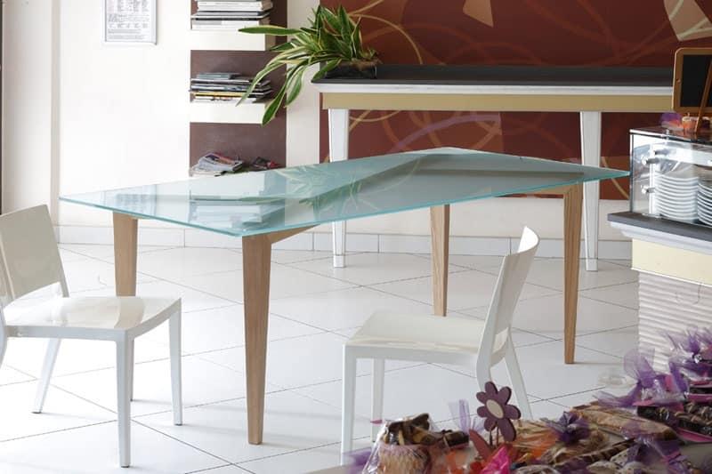 Tavolo in legno con top in vetro per sala da pranzo idfdesign - Tavoli pranzo design outlet ...