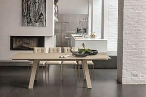 GIOVE TA177, Tavolo allungabile con piano in vetro e struttura in metallo