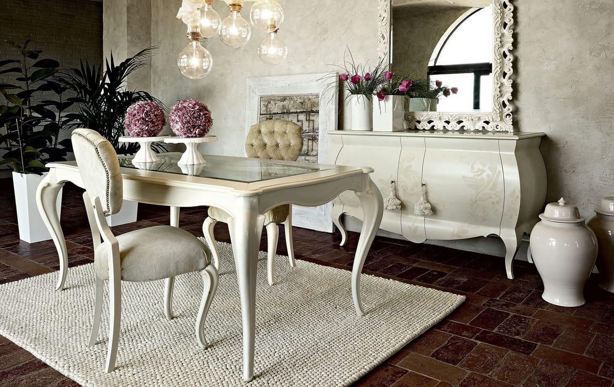 Tavolo Da Pranzo In Vetro : Tavolo da pranzo in legno bianco con piano in vetro idfdesign