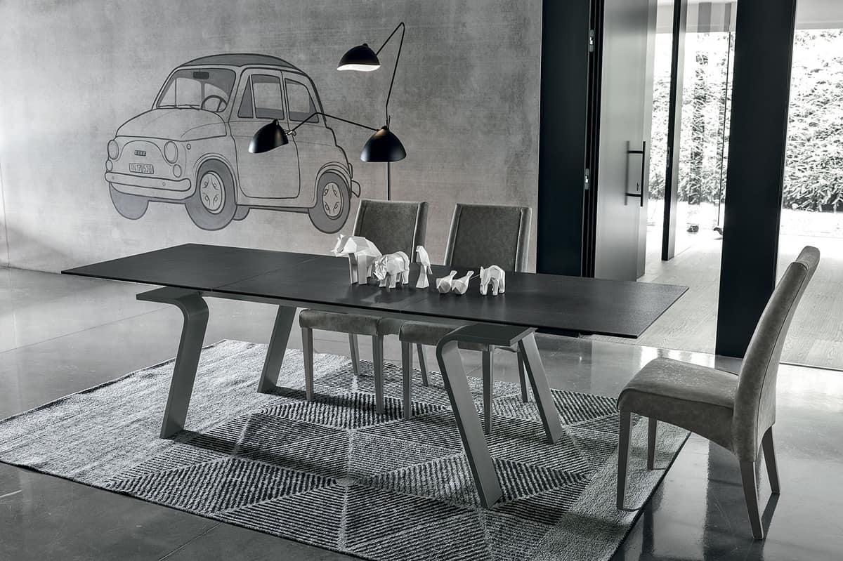 Tavolo allungabile rettangolare stile moderno idfdesign for Tavoli da sala da pranzo moderni