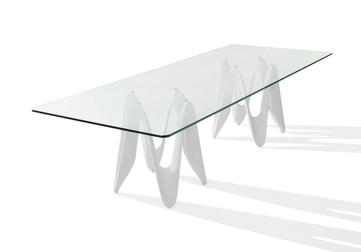 Tavolo con top in vetro sala da pranzo idfdesign for Tavoli moderni vetro design