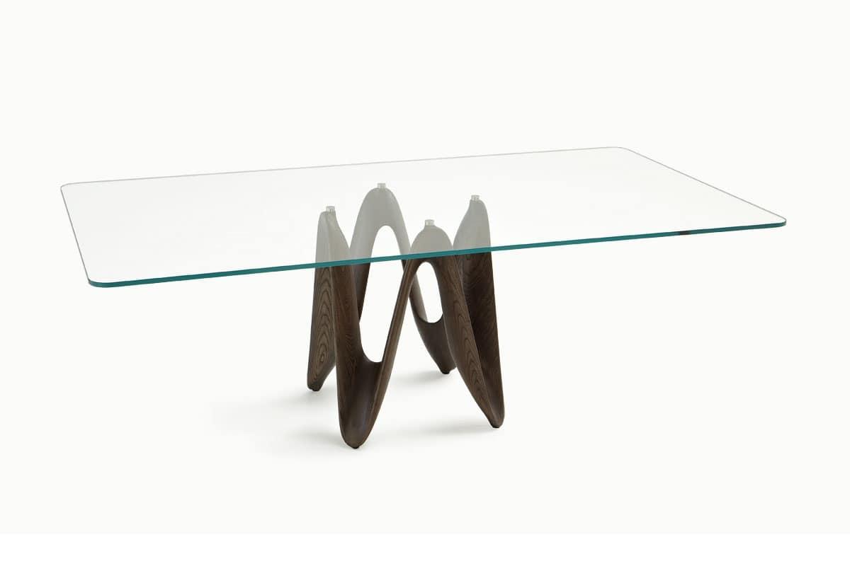 Tavolo con ripiano in vetro per cucina moderna idfdesign - Tavolo per cucina moderna ...