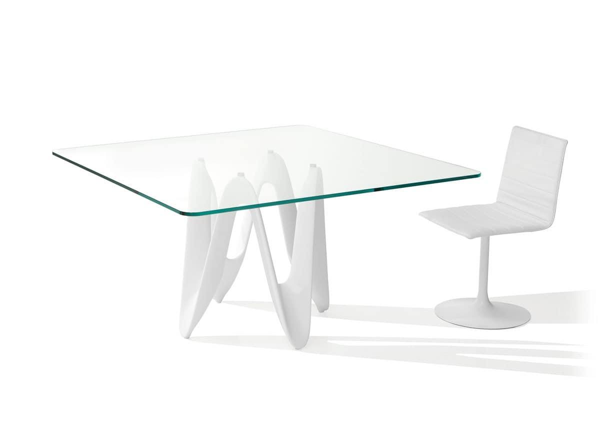 Tavolo da pranzo forme dinamiche piano in vetro idfdesign for Tavoli pranzo in vetro