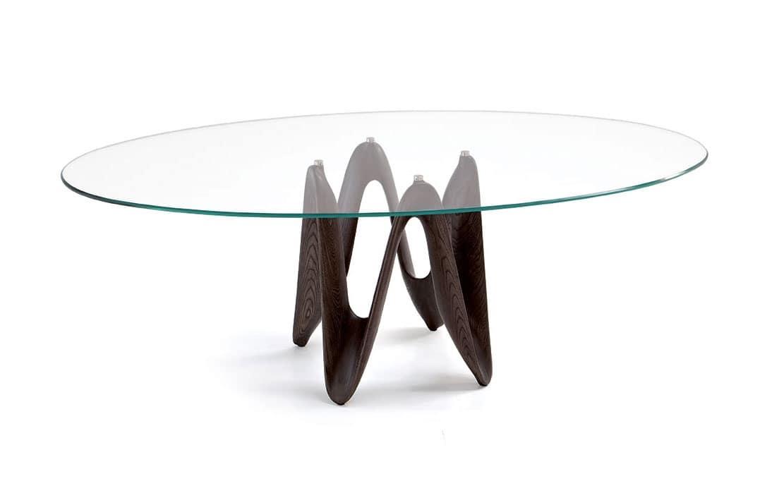 Tavolo moderno con piano in vetro per soggiorni idfdesign for Tavoli tondi in vetro
