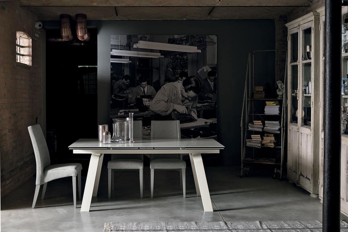 MARTE 180 TA147, Tavolo da pranzo estensibile con piano in vetro