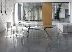 Metropolis 180x90cm, Tavolo design rettangolare in metallo con piano vetro