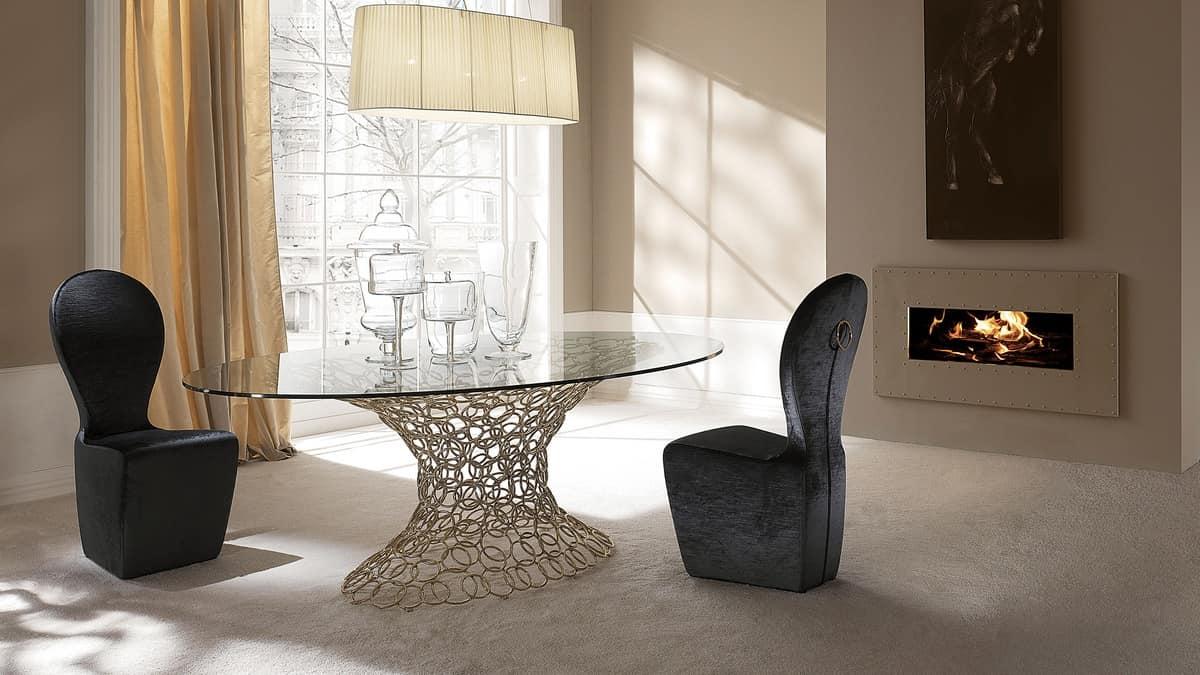 Tavolo ovale base in metallo piano in vetro idfdesign - Tavoli da pranzo ferro battuto e vetro ...