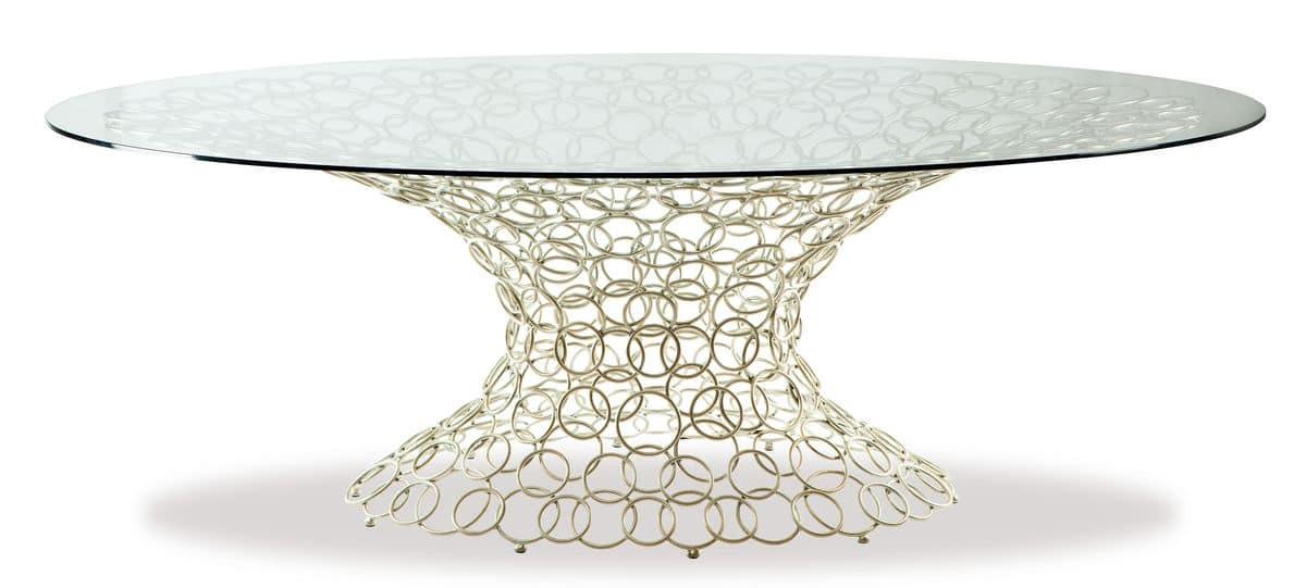 Tavolo ovale, base in metallo, piano in vetro | IDFdesign