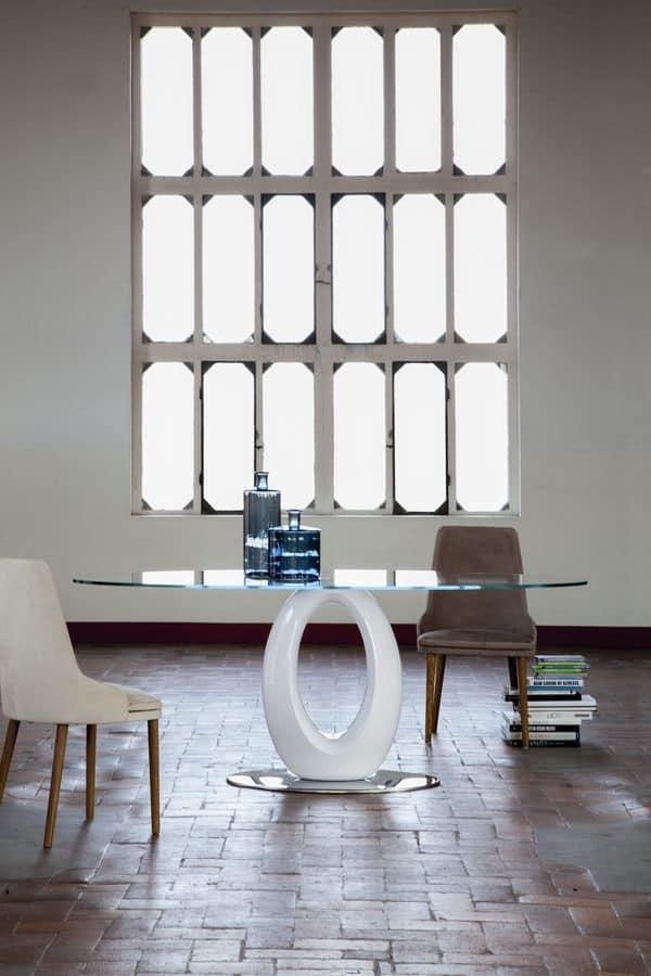 Tavolo tondo, piano in vetro, per cucina | IDFdesign