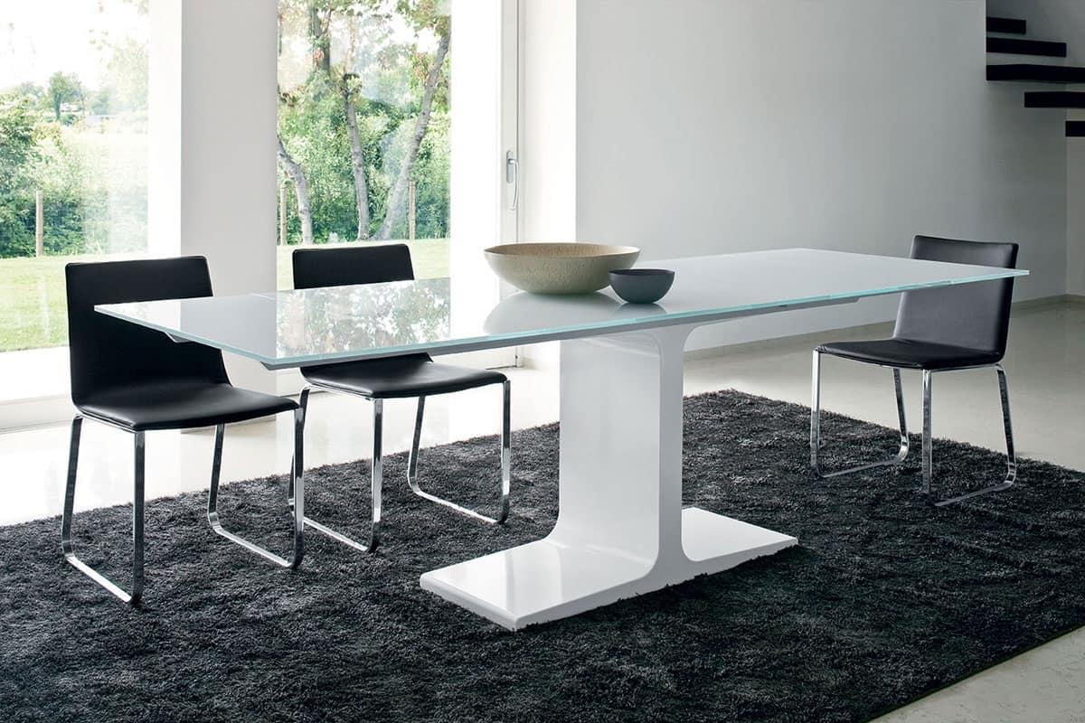 Tavolo allungabile con piano in vetro  IDFdesign