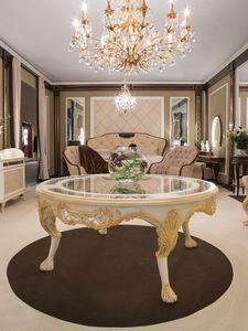 Pantheon tavolo, Tavolo tondo con piano in cristallo
