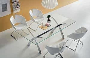 Portofino V, Tavolo fisso in metallo e vetro, diverse misure