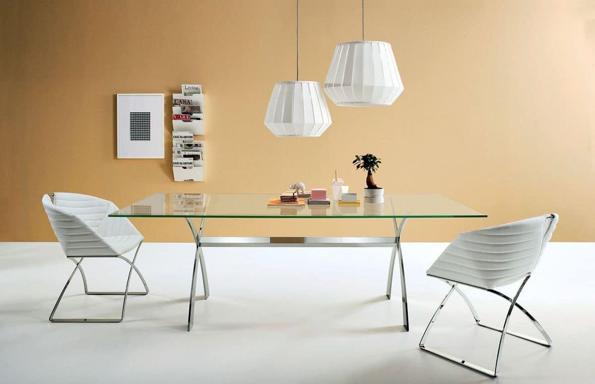 Tavolo fisso in metallo e vetro diverse misure idfdesign - Tavoli pranzo design outlet ...
