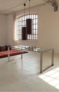 Ring table, Tavolo da pranzo in metallo, piano in cristallo