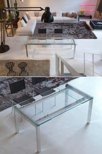 s76 edoardo, Tavolo estensibile con struttura in metallo e piano in vetro