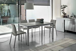 SOLE 140 TA180, Tavolo allungabile, struttura in metallo, piano in vetro