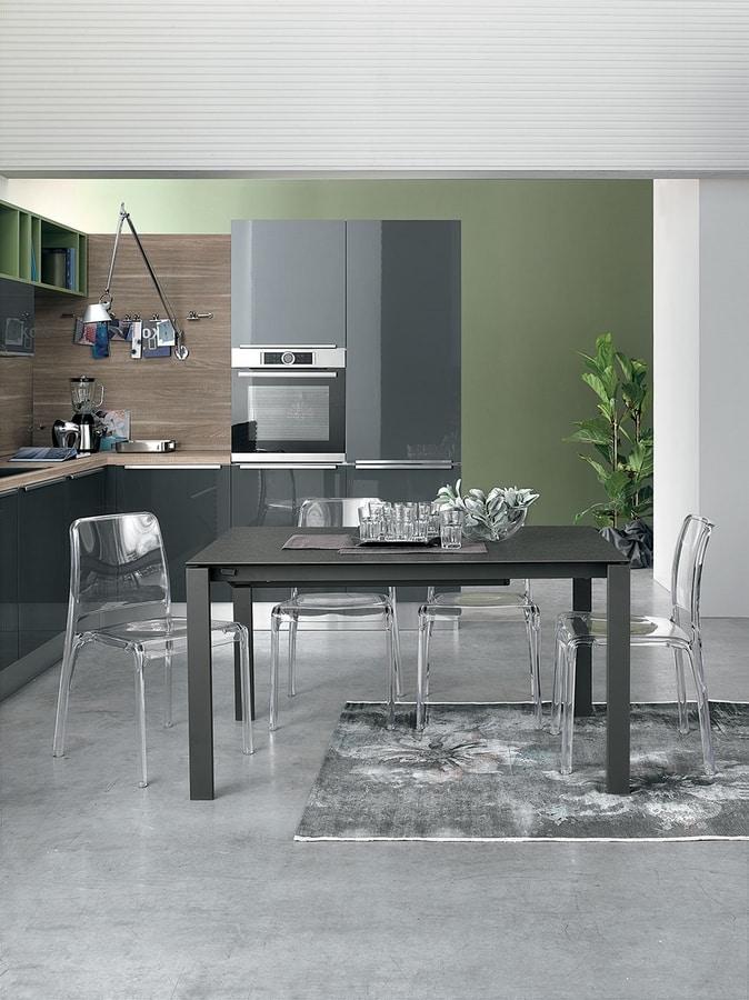 Tavolo allungabile struttura in metallo piano in vetro - Tavoli da pranzo moderni ...