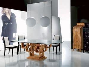 TA34 Glamour, Tavolo moderno da pranzo, piano vetro,  con intarsi