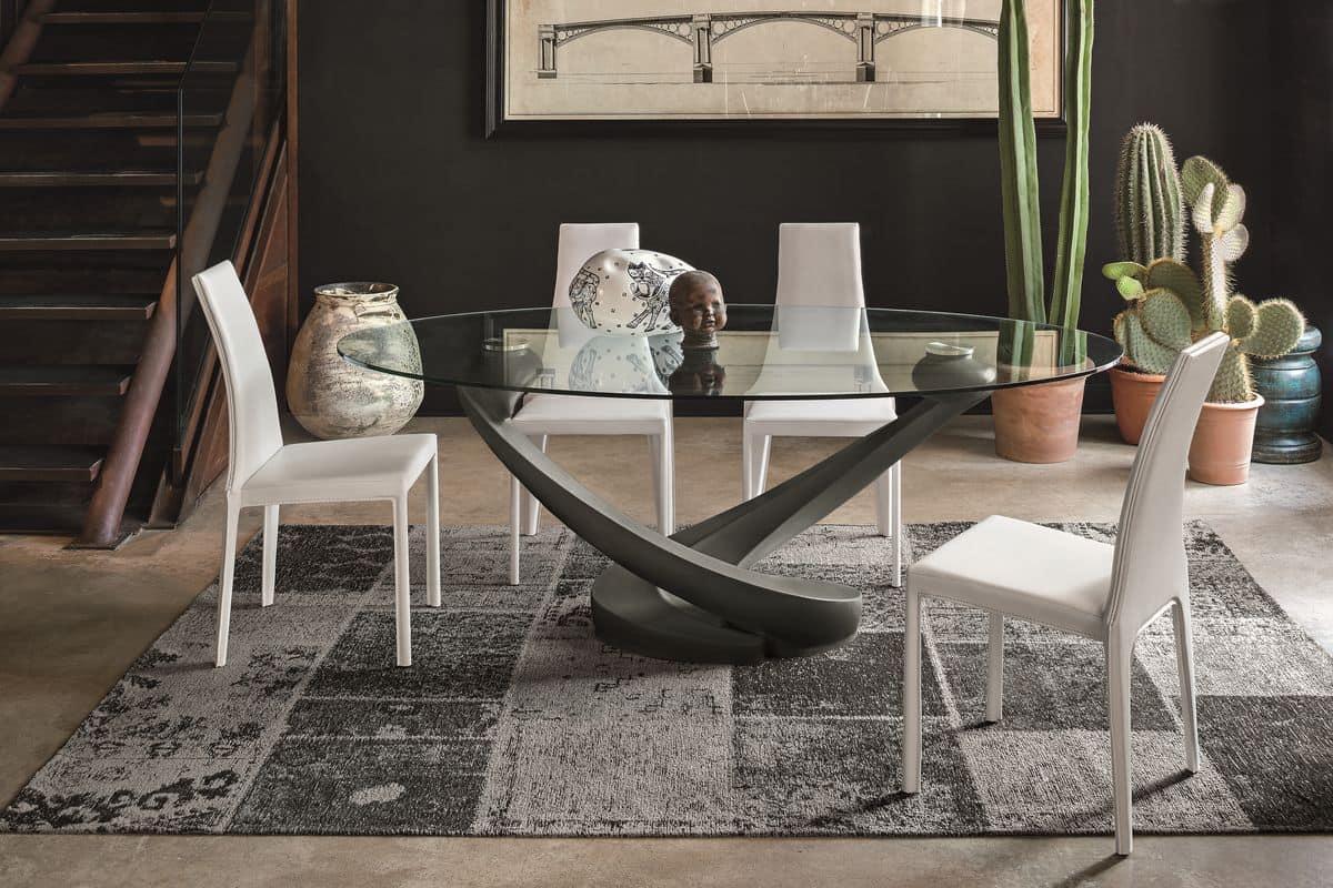 Tavolo ovale con piano in vetro per cucina moderna idfdesign for Tavoli pranzo moderni