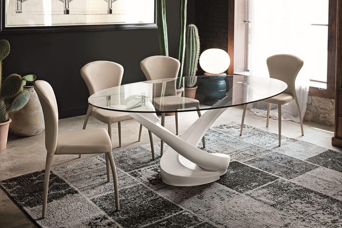 Tavolo ovale con piano in vetro per cucina moderna idfdesign for Tavolo ovale allungabile vetro