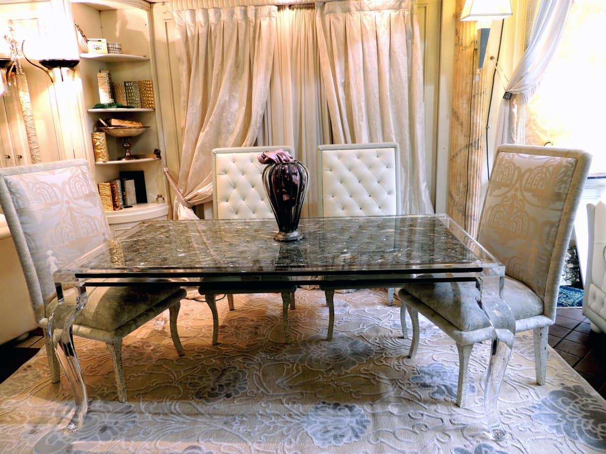 Tavolo classico rettangolare sala da pranzo con piano in vetro idfdesign - Tavolo sala da pranzo ...