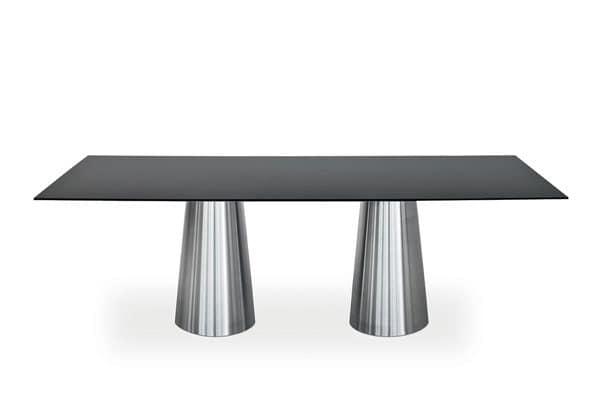 Tavoli Da Pranzo In Vetro: Da pranzo allungabile in vetro gambe metallo colore bianco.